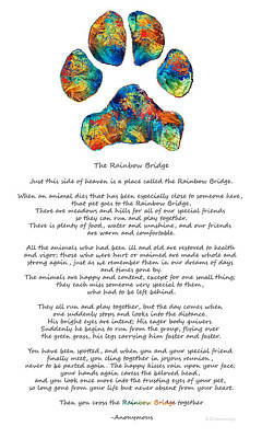 Rainbow Bridge Poem With Colorful Paw Print By Sharon Cummings Poster by Sharon Cummings