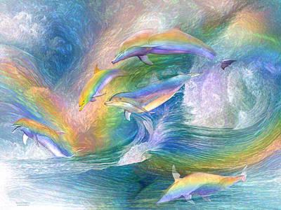 Rainbow Dolphins Poster by Carol Cavalaris