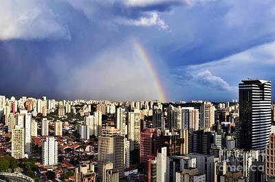 Rainbow Over City Skyline - Sao Paulo Poster by Carlos Alkmin