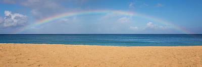 Rainbow Over The Pacific Panorama - Waimea Beach Oahu Hawaii Poster by Brian Harig