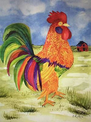 Rainbow Rooster Poster by Jane Ricker