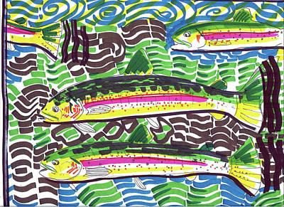 Rainbow Trout School Poster by Robert Wolverton Jr