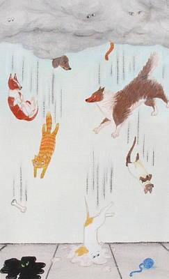 Raining Cats And Dogs Poster by Michelle Miron-Rebbe