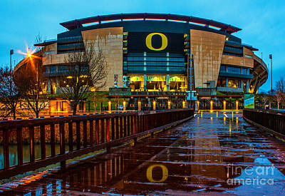 Rainy Autzen Stadium Poster by Michael Cross