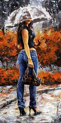 Rainy Day - Woman Of New York 14 Poster by Emerico Imre Toth