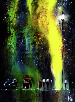 Rainy Evening Poster by Anil Nene