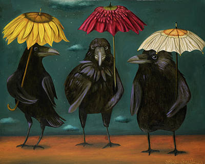 Ravens Rain Poster by Leah Saulnier The Painting Maniac