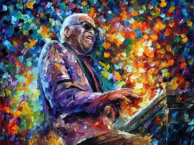 Ray Charles 2 - Palette Knife Oil Painting On Canvas By Leonid Afremov Poster by Leonid Afremov