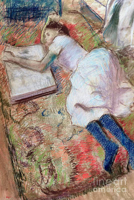 Reader Lying Down Poster by Edgar Degas