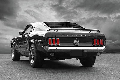 Rear Of The Year - '69 Mustang Poster by Gill Billington