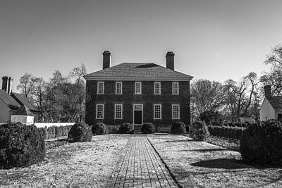 Rear View George Wythe House B W Poster by Teresa Mucha