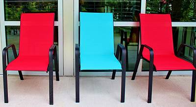 Red And Blue Chairs Poster by Cynthia Guinn