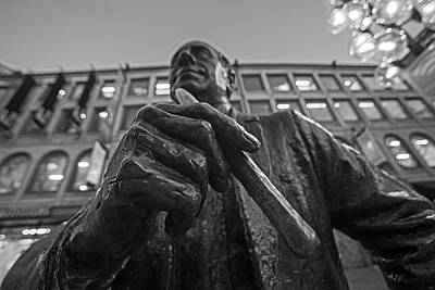 Red Auerbach Chilling At Fanueil Hall Black And White Poster by Toby McGuire