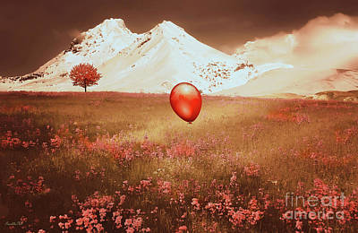 Red Balloon Over Scenic Meadow Poster by Kathy Franklin