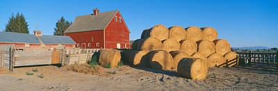 Red Barn And Haystacks, Idaho Falls Poster by Panoramic Images