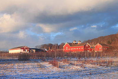 Red Barn And Orchard Winter Evening Poster by John Burk