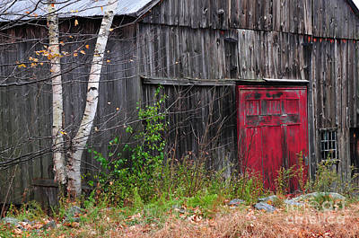 Red Barn Door - Dublin New Hampshire Poster by Thomas Schoeller