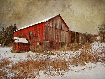 Red Barn White Snow Poster by Larry Marshall