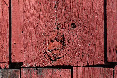 Red Barn Wood Poster by David Letts