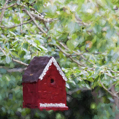 Red Birdhouse Painterly Effect Poster by Carol Leigh