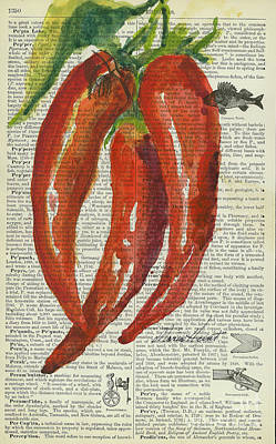 Red Chili Peppers Poster by Maria Hunt