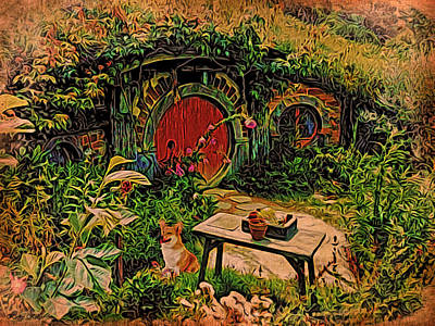 Red Door Hobbit House With Corgi Poster by Kathy Kelly