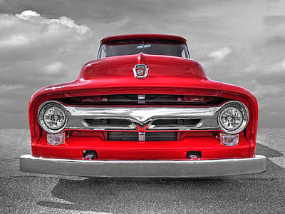 Red Ford F-100 Head On Poster by Gill Billington