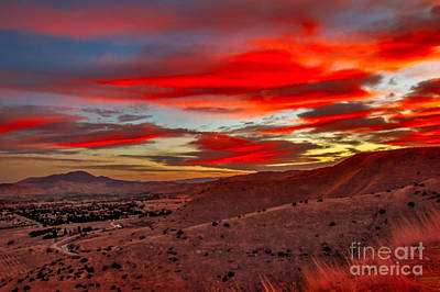 Red Glow Over Emmett Poster by Robert Bales