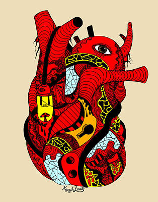 Red Heart Of Light Poster by Kenal Louis