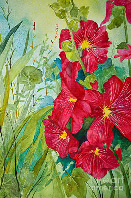 Red Hollyhocks Poster by Terri Robertson