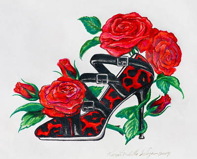 Red Leopard Roses Poster by Karon Melillo DeVega