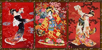 Red Oriental Trio Poster by Haruyo Morita