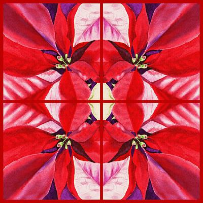 Red Poinsettia Quartet Poster by Irina Sztukowski