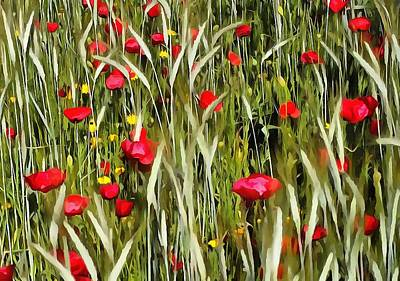 Red Poppies In A Cornfield Poster by Tracey Harrington-Simpson