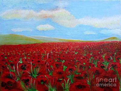 Red Poppies In Remembrance Poster by Karen Jane Jones