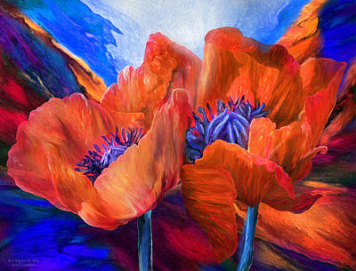 Red Poppies On Blue Poster by Carol Cavalaris