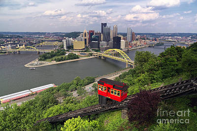 Red Railway Car On The Duquesne Incline Poster by George Oze