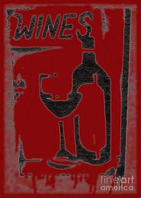 Red Red Wine Sign Poster by Barbie Corbett-Newmin