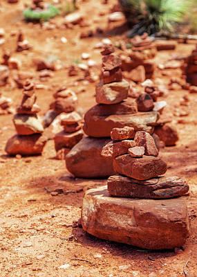 Red Rock Piles Marking Vortex In Sedona Poster by Susan Schmitz