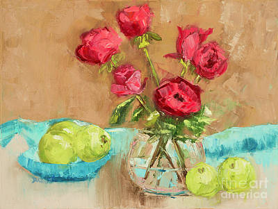 Red Roses And Green Pears  Poster by Denise Wood