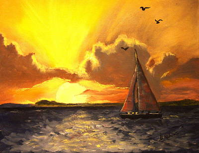 Red Sails In The Sunset Poster by Bobbie Roberts