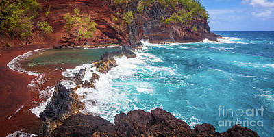 Red Sand Beach Panorama Poster by Inge Johnsson