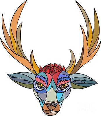 Red Stag Deer Head Mosaic Poster by Aloysius Patrimonio