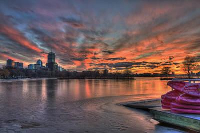 Red Sunset Over The Boston Skyline Poster by Joann Vitali