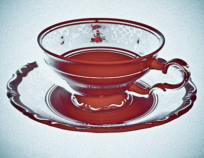 Red Tea Cup Poster by Frank Tschakert