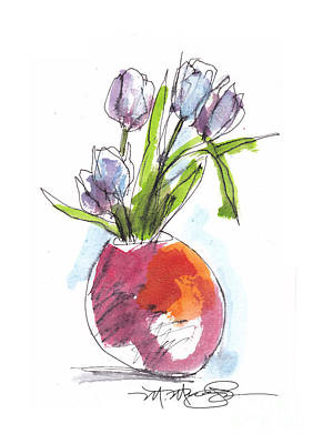Red Vase With Tulips Poster by Marilyn MacGregor