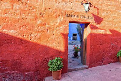 Red Wall In Santa Catalina Monastery Poster by Jess Kraft