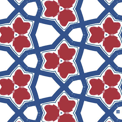 Red White And Blue Floral Motif- Art By Linda Woods Poster by Linda Woods