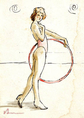 Redhead With Hoop Poster by H James Hoff