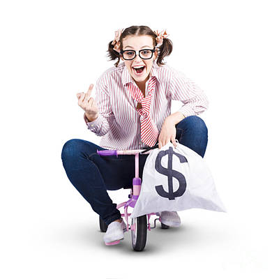Redundant Business Girl Riding Off With Payout Poster by Jorgo Photography - Wall Art Gallery
